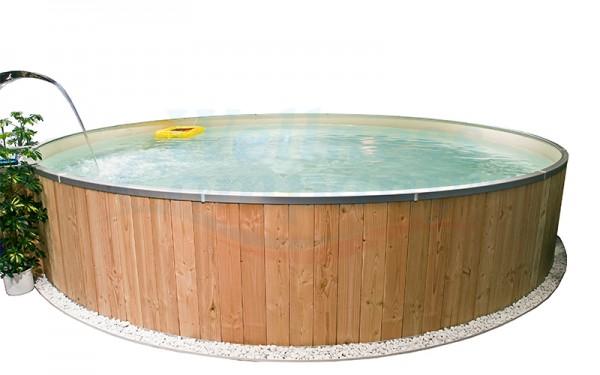 Rundschwimmbecken mit Holzverkleidung und Alu-Handlauf