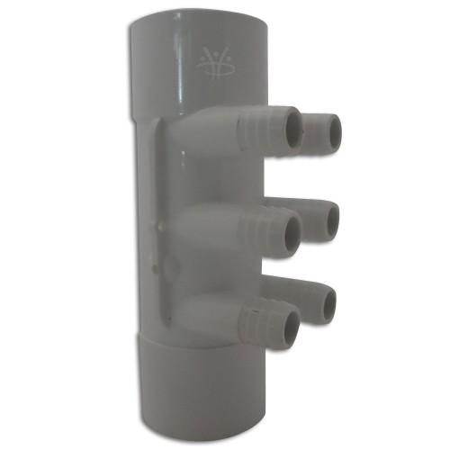 """6-fach Whirlpool Rohrverteiler Mainfold 2"""" x 2"""" x 3/4"""""""