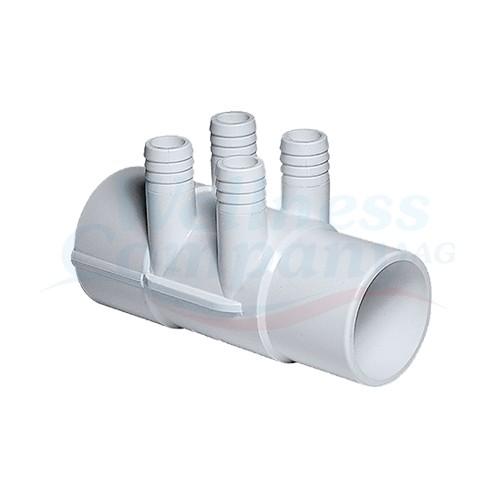 "4 fach Whirlpool Rohrverteiler Mainfold 2""S x 2""Spg x 3/4"""