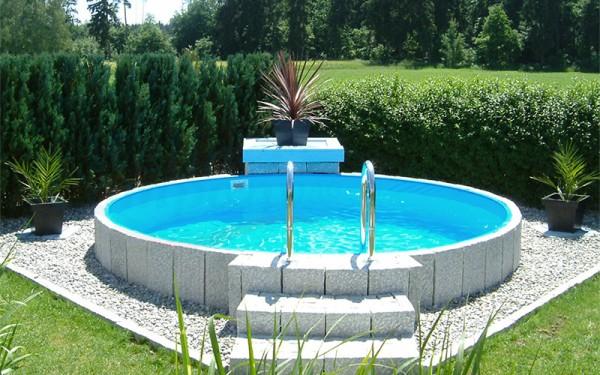 Rundschwimmbecken-Paket mit Alu-Handlauf Ø 450 cm x Beckentiefe 135 cm - Blau